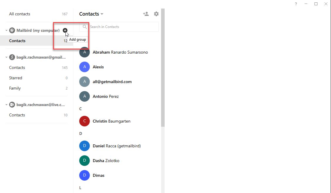 how to add an account to contact group android