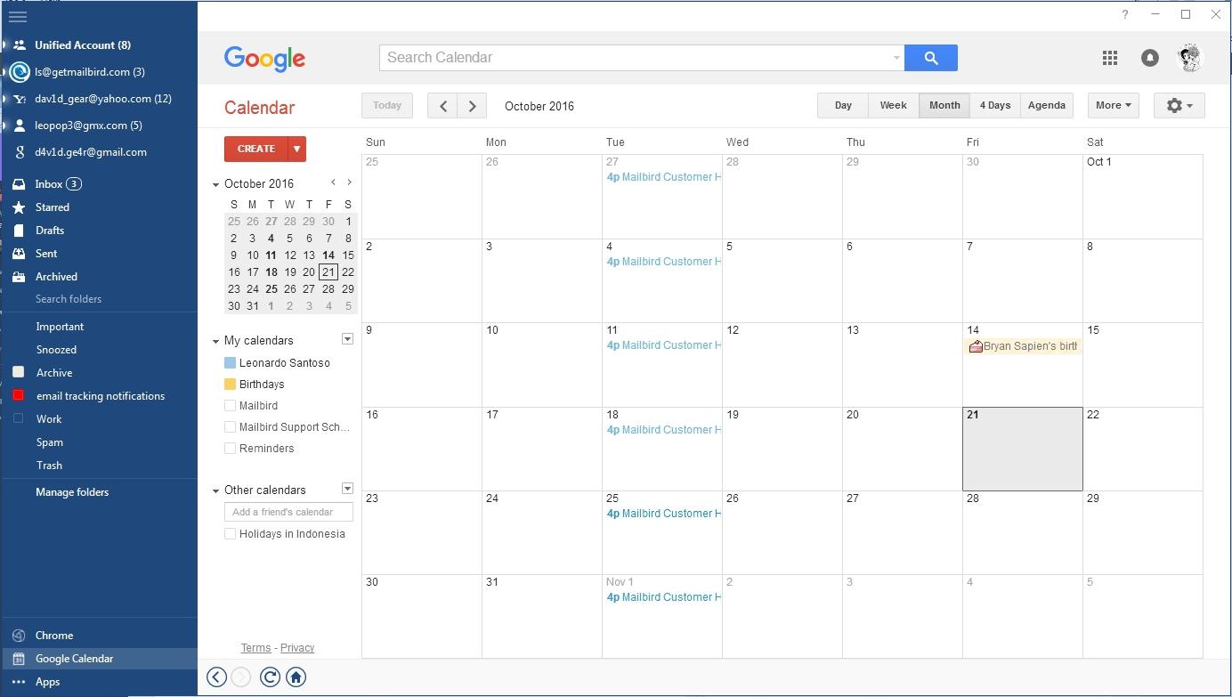 using google calendar in mailbird mailbird