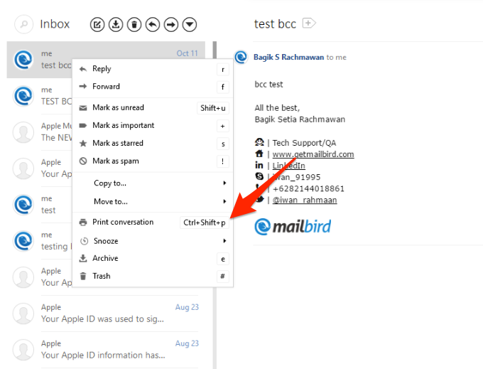how to print an email or conversation mailbird